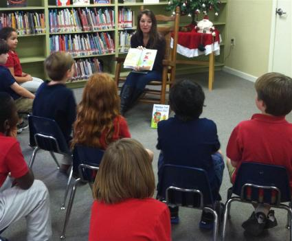 Author, Kathleen J_ Shields reads to SSES 1st and 2nd graders at Library Day_